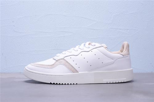 "EE6034 公司级 Adidas 阿迪达斯 Supercourt 头层皮复古运动休闲板鞋""白灰""男女鞋36-45"