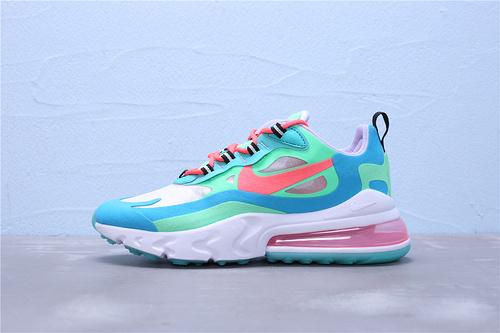 """AT6174-300 正确版公司级 Nike Max 270 React 混合科技二维码鞋标外标内置RFID芯片 半掌气垫跑步鞋""""青绿水蓝淡紫白""""女鞋36-39"""