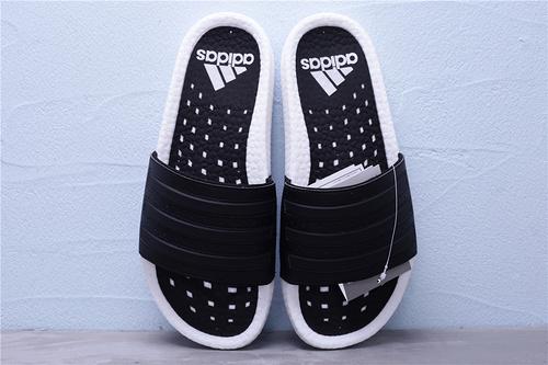 "EG1910 公司级 Adidas 阿迪达斯 Adilette Boost 爆米花夏季休闲运动沙滩一字拖鞋""黑白""男女鞋36-45"