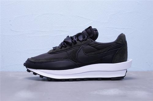 BV0073-002 纯原版本 Sacai x Nike LVD Waffle Daybreak 联名走秀款 丝绸面黑白 双钩双标双鞋带厚底 长绒皮材质 双钩双鞋舌(正确一层外露 一层包边)网