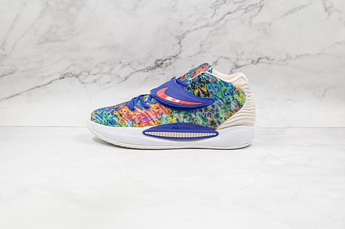 杜兰特 KD14 蓝橙色 扎染 货号:CZ0170 400 Nike Zoom KD 14 缓震实战篮球鞋 该款采用全掌Zoom气垫   K25-5