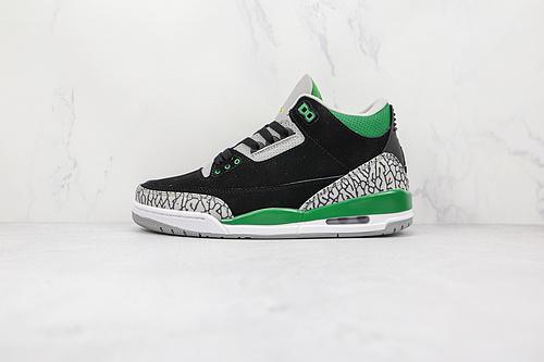"""头层 C4版本 AJ3 黑绿 Air Jordan 3 """"Pine Green"""" 鞋面采用黑色麂皮材质打造 货号:CT8532 030 点缀以白色、浅灰和绿色细节 T23"""