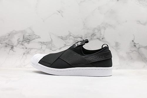 阿迪交叉绑带一脚蹬贝壳头 黑白 S81337Adidas SLIP ON完美公司标准工艺(鞋型、鞋标、材质与公司货无异)细节自观        Q17