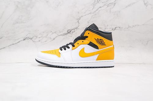 原厂 AJ1 Mid 中帮 白黄 货号:554724 170 市售最强中帮 天花板品质! 市面唯一正确版本 全鞋正品原材料    J21