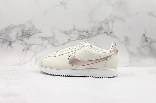 A80 | 真标阿甘白金低帮休闲板鞋 Wmns Classic Cortez Leather 白金 货号:AH7528 002     C23-1