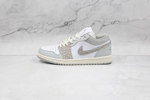 支持二次放店 Air Jordan 1 Low 灰白大象 货号:DH4269 100 AJ1乔1低帮休闲板鞋 同步官方配色 市场唯一独家头层皮打造 原鞋原档案开发   J21