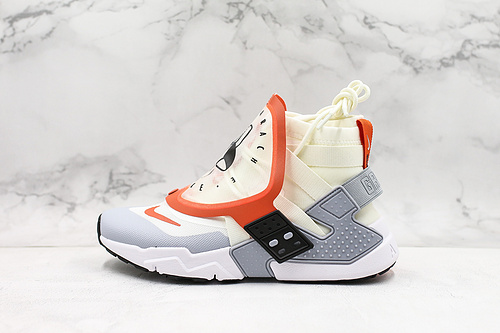 公司级华莱士六代潮流机能高帮运动鞋Nike Air Huarache GRIPP  颜色:白/橘  货号:AT0298-100     K17