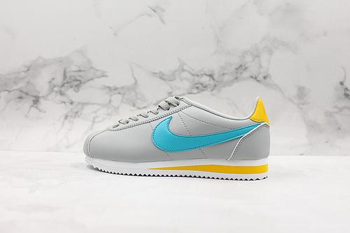 "A80 | 真标头层 阿甘灰蓝橙&白粉 耐克Nike Classic Cortez Leather 阿甘复古初代皮革慢跑鞋""饱满鞋头"" 货号:807471-019/112        C23-1"