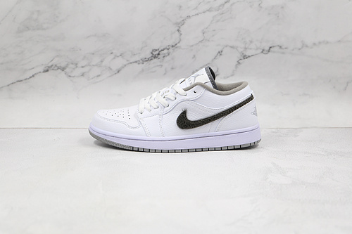 乔丹 AJ1 低帮 白灰色 绒面钩 货号:338145 103 Air Jordan 1 low AJ1低帮板鞋 运动鞋    M23-5