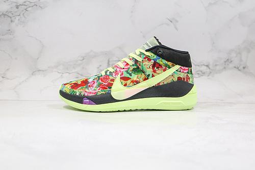 """杜兰特 KD13 花瓣 花卉 绿黑色 货号:CI9948-601 带有范思哲风格图案,全新耐克Nike KD 13 GE""""Funkl""""凯文·杜兰特       G25"""