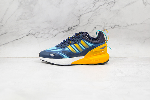 ZX 2K 2.0 蓝黄色  Originals ZX 2K Boost 2.0 这款街头经典板鞋 货号:GZ7501 采用科技风设计      K13
