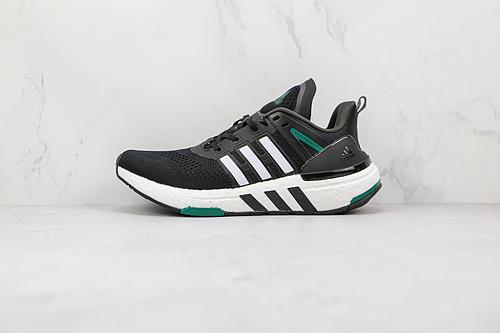 EQT跑鞋 黑白绿色 货号:H02759 EQUIPMENT+ 阿迪达斯低帮跑步运动跑鞋 采用工程针织鞋面,舒适透气,传统的鞋舌方便传统,适合各种脚型   R12-12