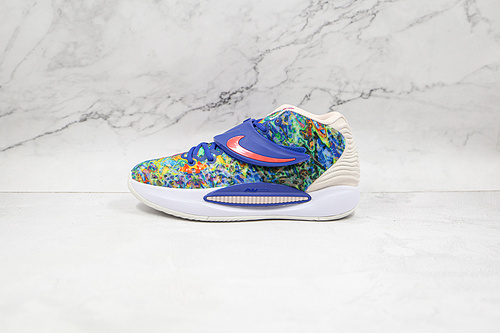 杜兰特 KD14 蓝色 扎染 货号:CZ0170 400 Nike Zoom KD 14 缓震实战篮球鞋 该款采用全掌Zoom气垫   K25-5