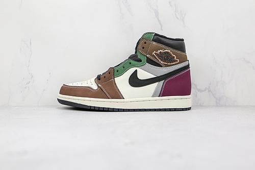 支持二次放店 乔丹 AJ1 高帮 彩色拼接 白棕黑紫绿 货号: DH3097-001 3M反光 Air Jordan 1 High OG     L21