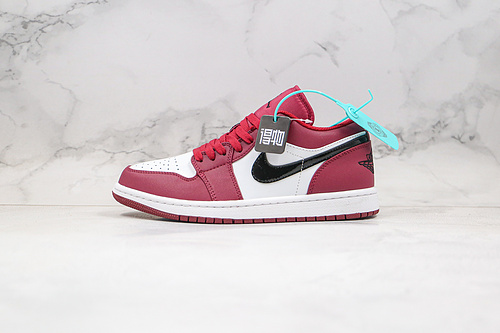 """得物 毒版本 头层 乔丹 低帮 AJ1 货号:553558 604 酒红色 头层原裁片 原鞋Nike Air Jordan 1 Low """"Noble Red 玫瑰酒红色   O26"""