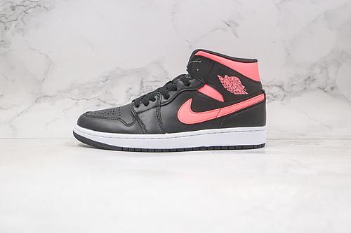 乔丹 中帮 AJ1 黑粉 荧光粉 货号:BQ6472 004 Air Jordan 1 Mid 中帮 AJ1 乔1 中帮百搭 休闲运动板鞋    D25