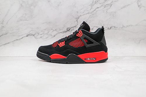 """纯原版本 AJ4 黑红雷电  Air Jordan 4 Retro """"Red Thunder"""" AJ4 货号:CT8527-016 乔丹4代 aj4 乔4 黑红雷电   J21"""