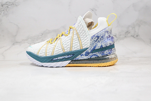 C40 Nike LeBron XVIII EP 勒布朗-詹姆斯篮球鞋/白蓝紫 货号:DB8148-100  鸳鸯 半掌氮气缓震气垫 原标原盒 网面透气 实战无忧   K25-5