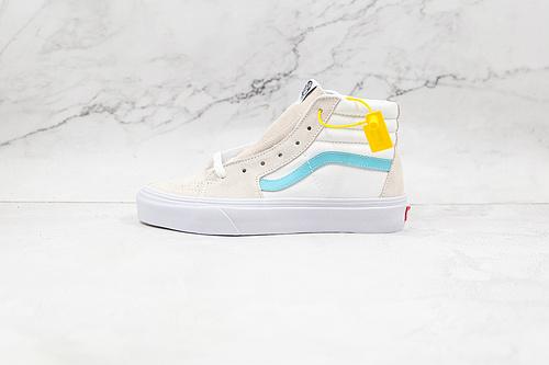 Vans 白蓝色 高帮 范斯官方 2021年秋季新款来袭,白色淡蓝色侧边条纹男鞋女鞋SK8 -Hi高帮帆布鞋 硫化1:1(重量1:1 真标 原钢印 材质标 鞋型标 合格证)   S26