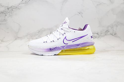 "公司级 詹姆斯 17代 白紫绿色  货号:CD5007-102  Nike LeBron 17 Low ""Lakers Home"" 白紫装扮      J1    W15"