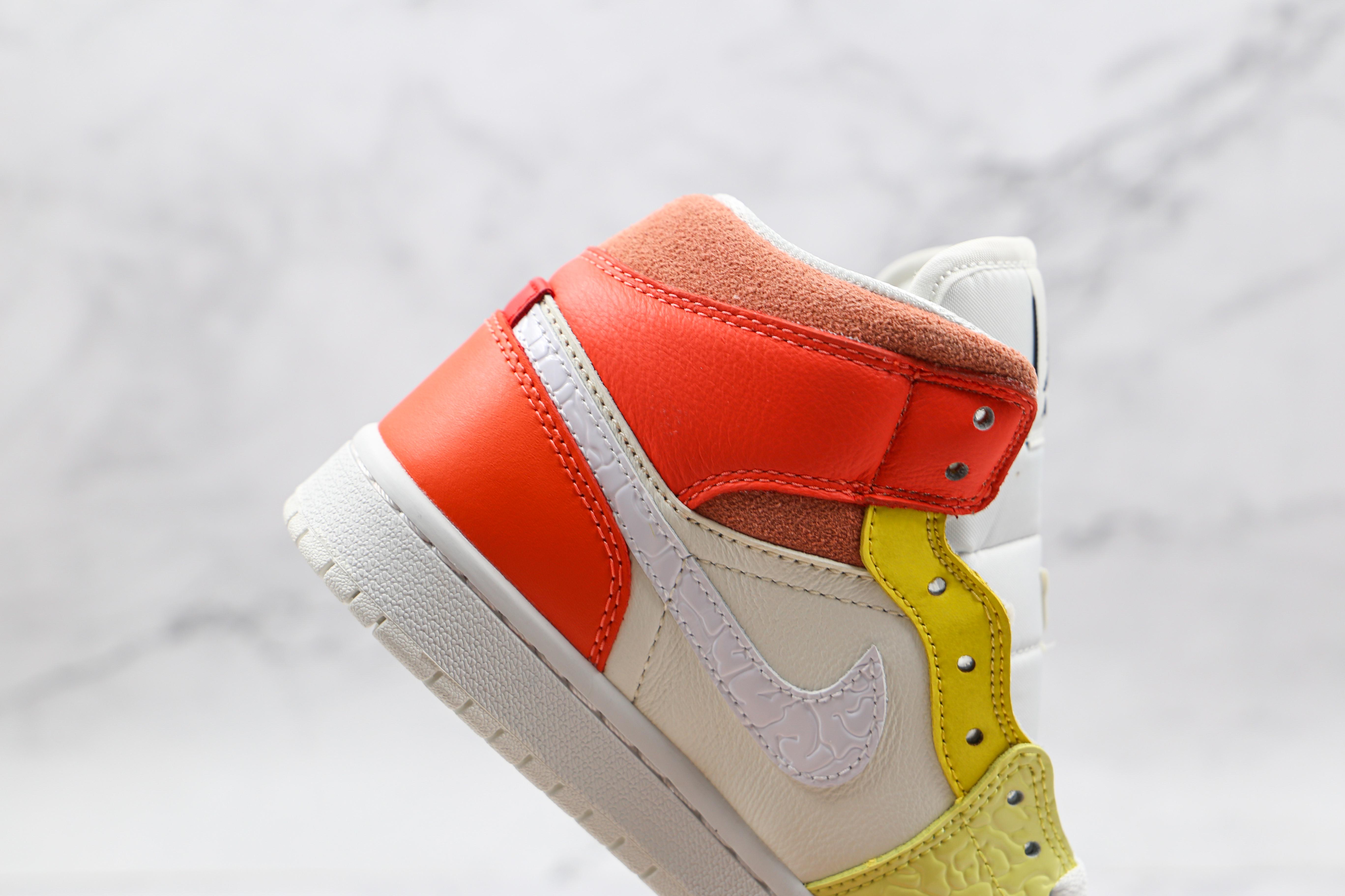 原厂 AJ1 Mid 中帮 白蓝黄橙粉色 货号:DJ6908 100  彩色拼接 市售最强中帮 天花板品质! 市面唯一正确版本 全鞋正品原材料    J21