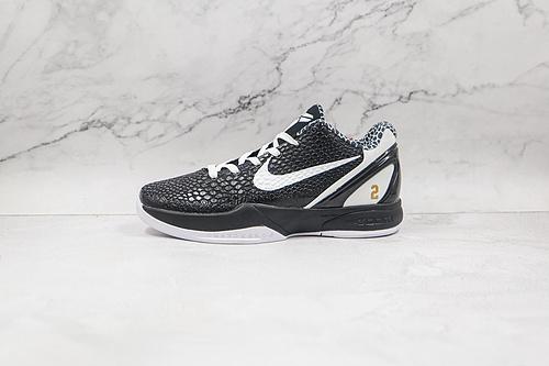 """科比6 黑白色 Kobe 6""""Mamba Forever"""" 货号:CW2190-002 整双鞋采用经典黑白色,并且鞋面以传统 """"鳞片"""" 打造,营造蛇皮质感   K25-5"""