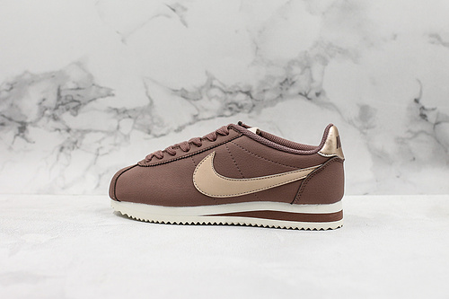 A80 | 真标 阿甘豆沙色 Wmns Classic Cortez Leather阿甘低帮休闲板鞋 豆沙棕 货号:AV4618 200     C23-1