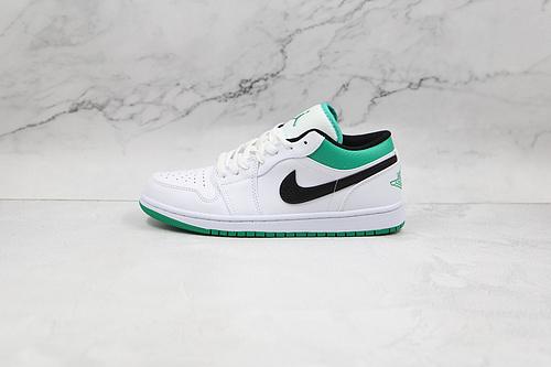 支持二次放店 Air Jordan 1 Low 白绿色 货号:553558 129 AJ1乔1低帮休闲板鞋 同步官方配色 市场唯一独家头层皮打造 原鞋原档案开发    J21