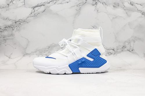 白蓝 华莱士 高帮 Nike Air Huarache Gripp QS 'White Ora'华莱士 高帮漂移6代束脚拉链面罩机能运动慢跑鞋原装透明织物    K17