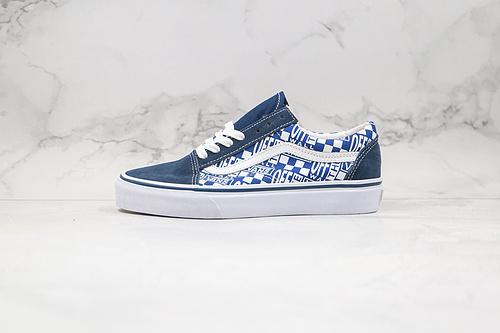 万斯 Vans OW联名 麂皮 黑蓝色 Off white &Vans范斯联名款old skool低帮男女滑板运动鞋,官方新配色     F1    S26   E19