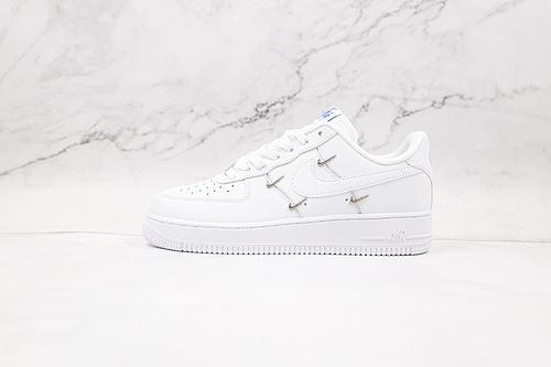 """空军一号 小银四钩 白色 货号:CT1990-100 Nike Wmns Air Force 1' 07 LX""""Chrome Swooshes White""""     K13"""