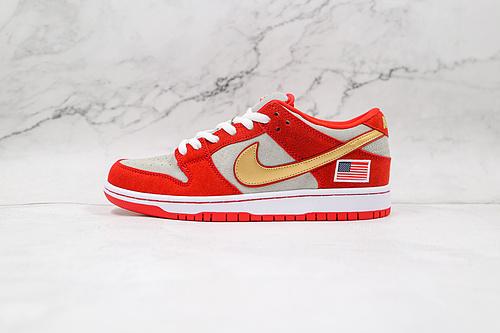"""耐克 SB DUNK 低帮 灰红 金钩 美国国旗 货号:304292 610 Nike SB Dunk Low """"Nasty Boys""""美国国旗扣篮系列   O11"""