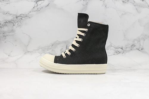 布面 黑白RO大匡威 广东 RO奶香大底高品质版本 瑞克·欧文斯Rick Owens DRKSHDW Scarpe Sneaker 高帮厚底增高斯卡尔板鞋     K15