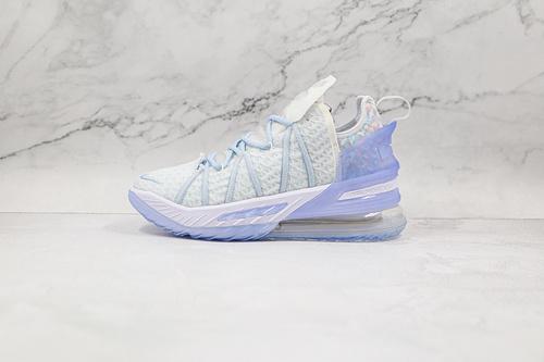 C40 詹姆斯 气垫 冰蓝 白蓝色 货号:CW3156 400 Nike LeBron XVIII EP 勒布朗-詹姆斯篮球鞋 半掌氮气缓震气垫 原标原盒 网面透气 实战无忧 K25-5