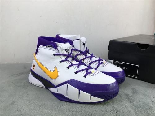 """科比 白紫黄勾 原装版 真碳 40-47.5 Nike Kobe 1 Protro """"Close Out""""货号:AQ2728-101"""