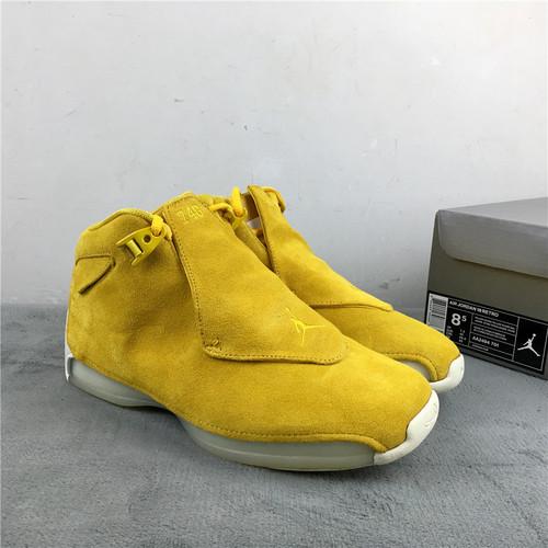 """乔18 黄色 原装版本 40-47.5 Air Jordan 18 """"Yellow Suede""""货号:AA2494-701"""