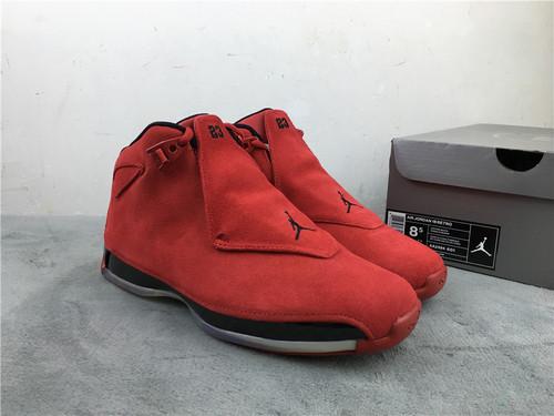 """乔18 大红 公牛 原装版 41-46 Air Jordan 18 """"Gym Red""""货号:AA2494-601"""