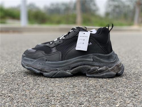 """巴黎世家黑色Balenciaga Triple-S Sneaker 做旧姥爷鞋""""透明气垫""""35--45_长沙最大aj专卖店在哪"""