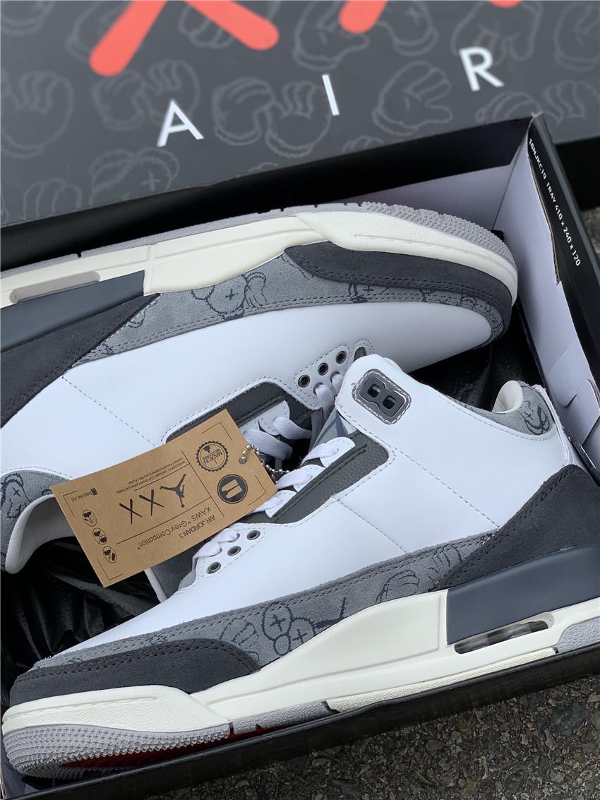 KAWS x Air Jordan 3  aj3涂鸦  联名酷灰 白灰 930155-003_东莞鞋比莆田鞋还要好吗