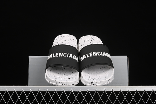 Balenciaga 巴黎世家喷墨白色休闲拖鞋