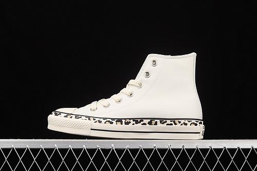 Converse All Star 小豹纹围条皮质高帮小白鞋 571880C