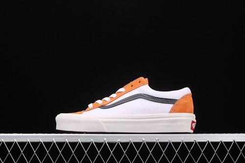 Vans Style 36 焦糖橘白 小头拼接低帮情侣款休闲板鞋 VN0A3DZ3WZ5