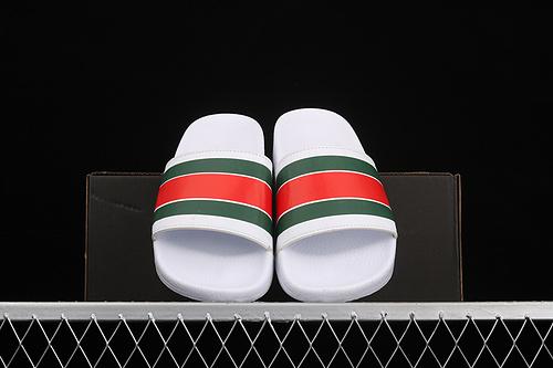 Gucci 夏季潮流情侣款休闲拖鞋 白绿红