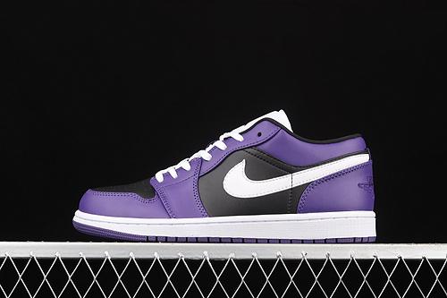 Air Jordan 1 Low AJ1 乔1黑紫白 低帮文化休闲运动板鞋 553558-501