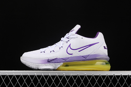"Nk LeBron 17 Low ""Lakers Home""詹姆斯17 白紫装扮 低帮专业实战篮球鞋 CD5007-102"