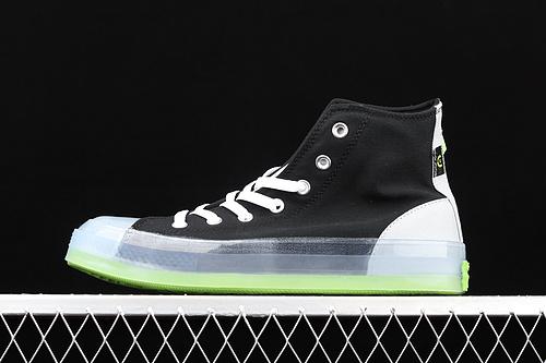 Converse Chuck Taylor All Star CX中性水晶果冻底绿色撞色帆布高帮板鞋 170834C
