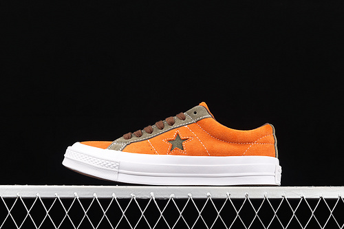 Converse One Star 匡威脏橘绿翻毛一星低帮板鞋 161617C