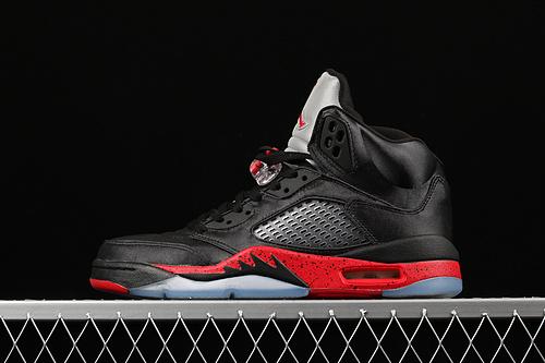 Air Jordan 5 Satin Bred AJ5 黑红丝绸男子篮球鞋 136027-006