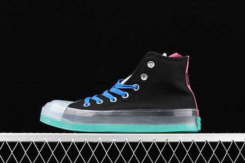 Converse Chuck Taylor All Star CX中性水晶果冻底绿色绿标撞色帆布高帮鞋 170138C