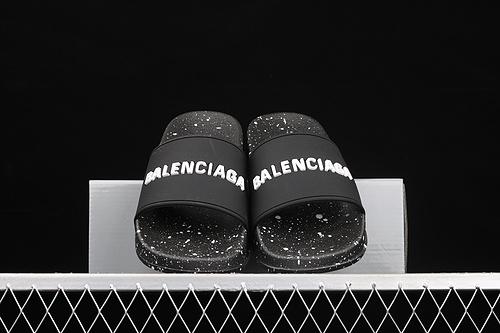 Balenciaga 巴黎世家喷墨黑色休闲拖鞋
